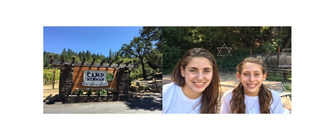 Sandy's granddaughters, Ari and Kami, at July summer session, Camp Newman. Happy times then, very sad campers today.