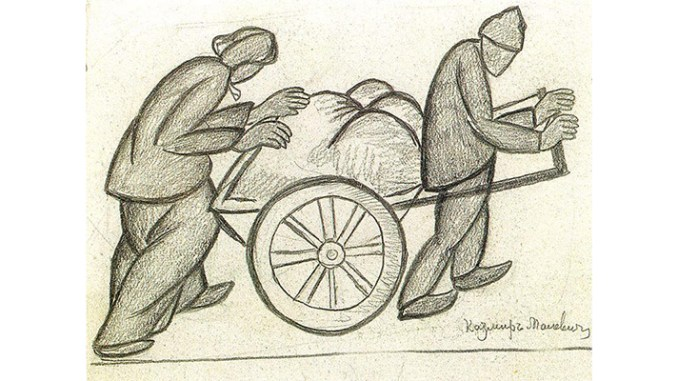 """Malevich, """"Two Pushcarts, 1911,"""" public domain image via Flickr.com"""
