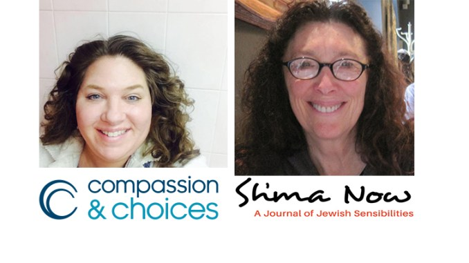 Corrine Carey, left, of Compassion and Choices, and Susan Berrin, editor of Shma Now, are the guests on this episode of Jewish Sacred Aging Radio