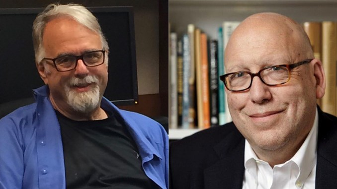Rabbi Phil Cohen left, and Rabbi Jeffrey Salkin discuss the new nation-state law in Israel on this week's Seekers of Meaning Podcast