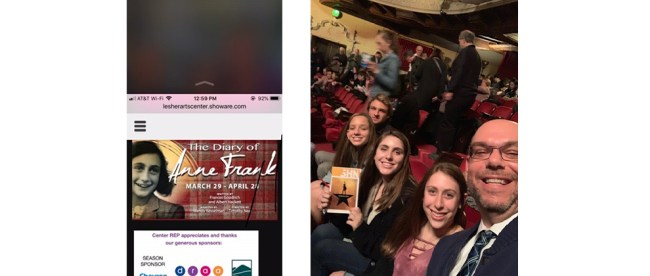 "Sandy Taradash's grandchildren and her son went to see ""Hamilton,"" right. She'll be taking them to see ""The Diary of Anne Frank"" this month."
