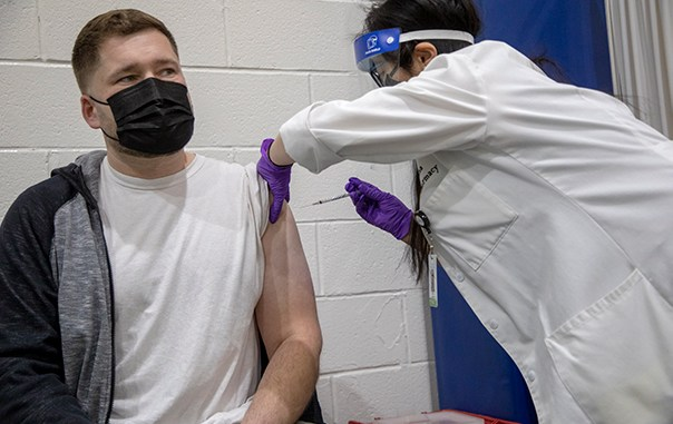 Holy Name Medical Center administering the COVID-19 vaccine to the public in The Rodda Community Center in Teaneck on 1/13/2021. Jeff Rhode photo. Used by permission