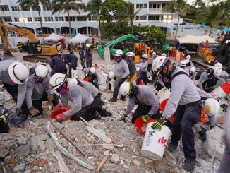 Rescue workers at the site of the Champlain Towers collapse, Surfside, Florida (Miami-Dade Emergency Services photo)