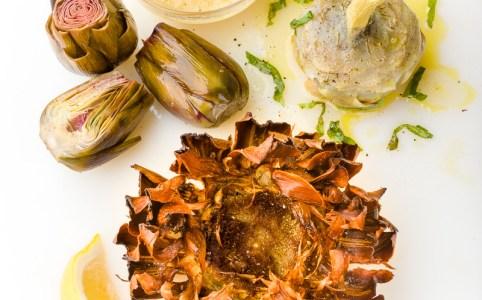 artichokes 3 ways - deep fried Jewish-style, braised Roman-style and confit (carciofi alla giudia, carciofi alla romana & carciofi conditi with vinaigrette)