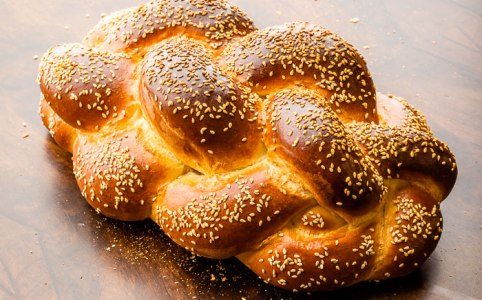 Beautiful Jewish Shabbos challah with sesame