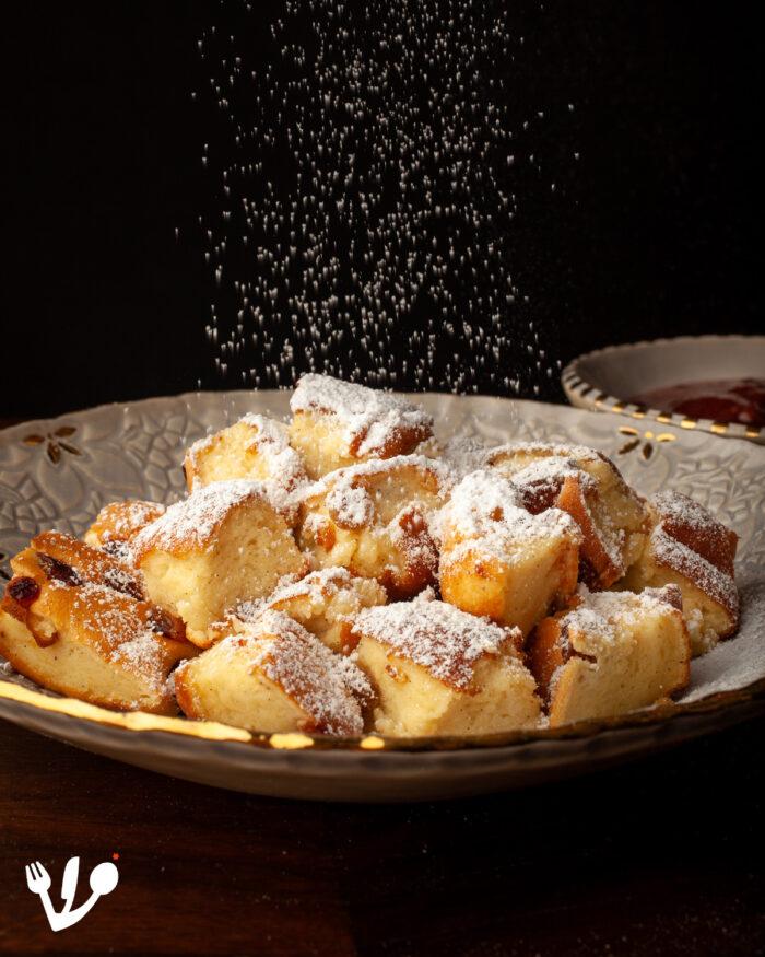 """Kaiserschmarrn,"" Vienna's Shredded Soufflé Pancake: The Emperor's Light & Fluffy ""Mess"" With A ""Roasted"" Fruit Stew at Pre-Holocaust Kosher Restaurant Neugröschel (Recipe). #Sisi #Torberg"
