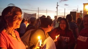Beth Harris, Elaine Cohen, members of Puente, Kabbalat Shabbat at vigil outside Eloy detention center Friday Oct. 7, photo by Deborah Mayaan