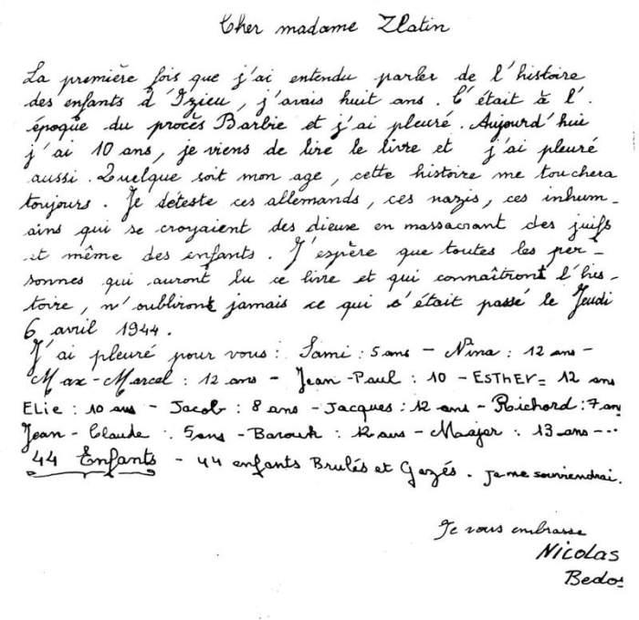 Lettre de Nicolas Bedos