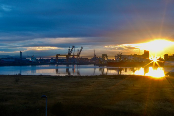 Leith Docks at sunset by Jez Braithwaite