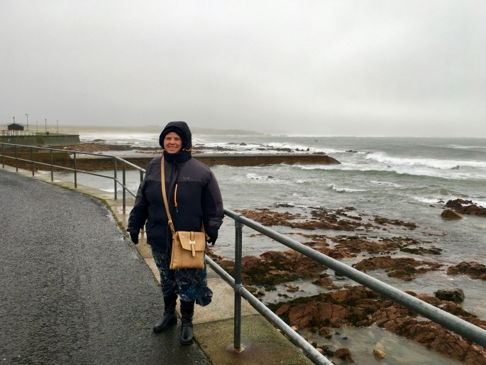 Susan at Peterhead on a windy day