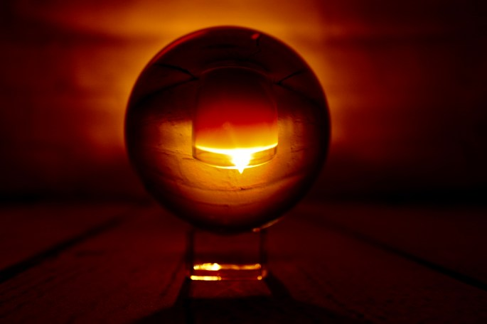candle in a glassball