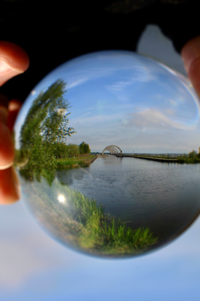 Lensball shot at top of Falkirk Wheel