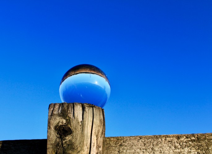 Lensball againsta blue sky