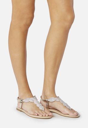 Zenia Beaded T-Strap Sandal