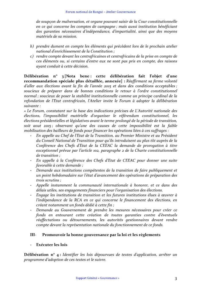 FORUM DE BANGUI- COMMISSION GOUVERNANCE - RAPPORT FINAL AMENDÉ APRÈS PLÉNIÈRE_Page_3