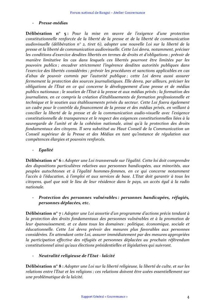 FORUM DE BANGUI- COMMISSION GOUVERNANCE - RAPPORT FINAL AMENDÉ APRÈS PLÉNIÈRE_Page_4