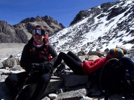 Taking a break on the way to the refugio