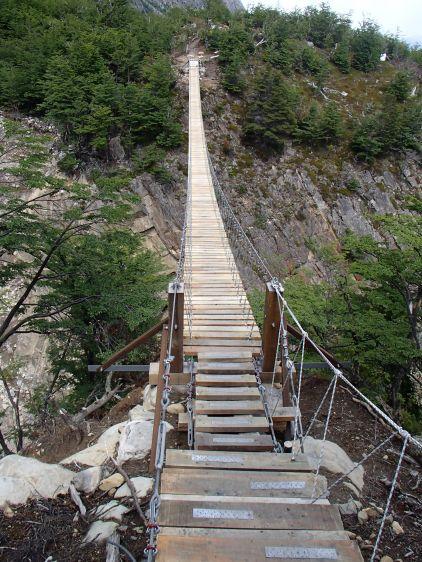 A wobbly bridge, the wind didn't help