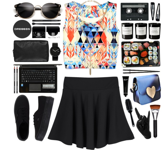 summer style crop top and skirt