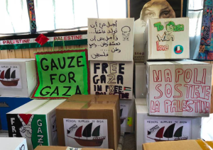 Gauze for Gaza: boxes loaded onto Freedom Flotilla vessels before departure.