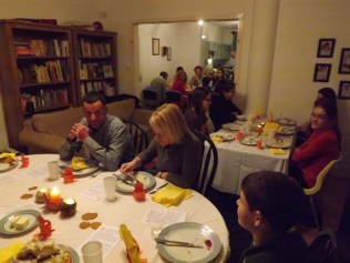 We hosted a thanksgiving outreach dinner for Hannah's gymnastics club