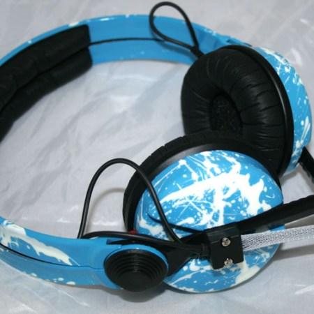 Custom Cans Sennheiser HD25 DJ Headphones in Light Blue with White Splatter (2 year warranty)