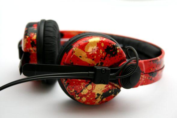 Customise splatter pattern Sennheiser HD25 DJ Headphones with your name -2694