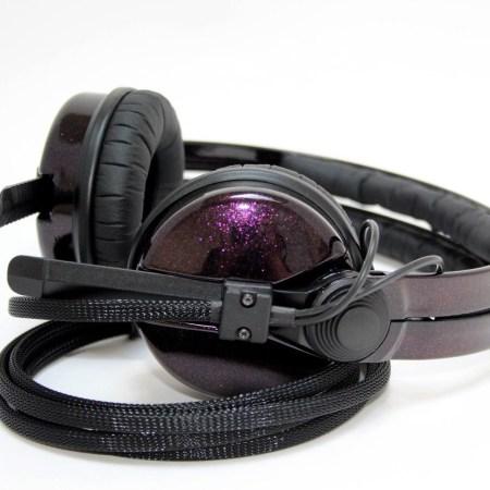 Custom Cans Black and Hot Rod Sparkle Red Sennheiser HD25 Customised DJ Headphones with 2 yr warranty