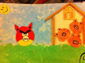 """The second little pig built a house of sticks"""