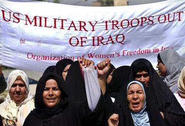 Die Organisation für die Freiheit der Frauen im Irak fordert Abzug der US-Armee (Bagdad, 4.9.2004)