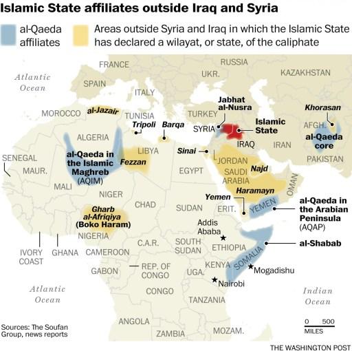 Verbündete des Islamischen Staates außerhalb von Syrien und Irak