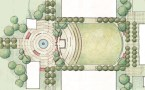 Conceptual plan for the Entry Court and Quad with a series of concentric circles in paving, seat walls, and planting that are backed by a trellised stage area.