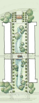 Plan of the shopping area with its arcades, rows of palm trees, lawn, and central, seasonal vernal ponds.