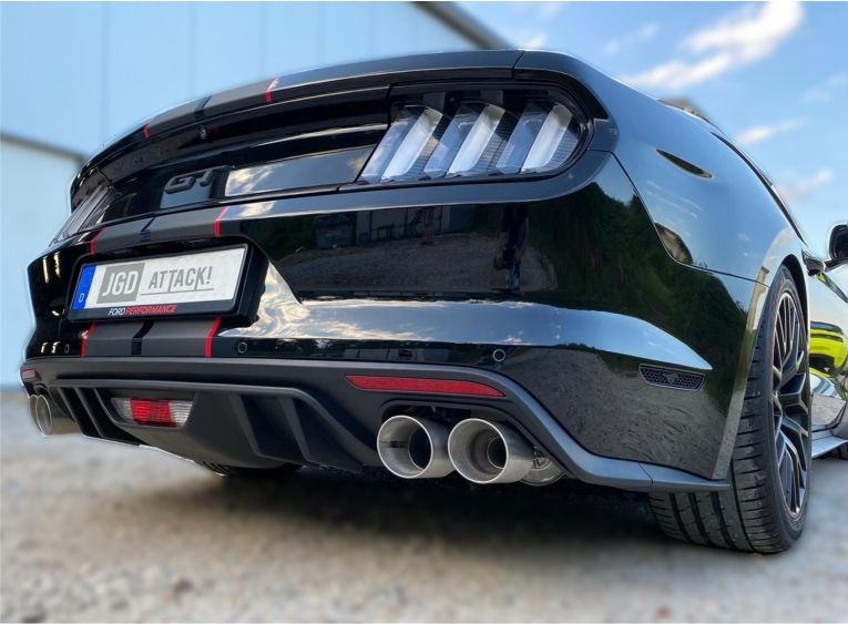 rtr style quad exhaust rear diffuser mustang 15 17 ecoboost premium gt premium