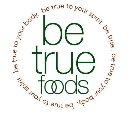 Be True Foods logo showing J. Genow Marketing Brand Development service