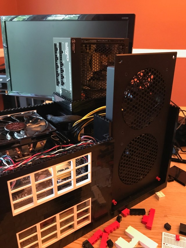 The second power supply in place, as well as the external fans.