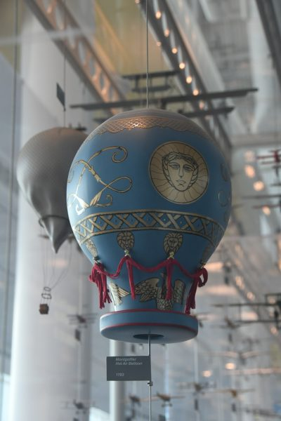 Hot Air Balloon from 1783 from the Montgolfier brothers. In French, a hot air balloon is still called Montgolfiere