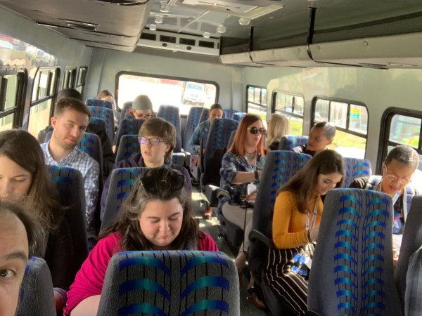 The Langley social team in the bus, en route to the NASA research center