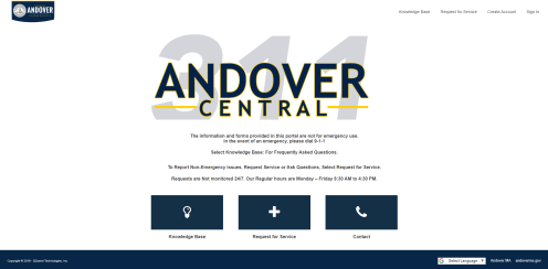 The online portion of the Andover Central system allows residents to search the knowledge base or submit a service request. (Photo courtesy Town of Andover)