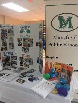 The Mansfield Public Schools exhibition table at the Celebrating STEM Week event on Monday, Nov. 18 highlighted STEM Week events that were held at Jordan/Jackson. (Photo courtesy Mansfield Public Schools)