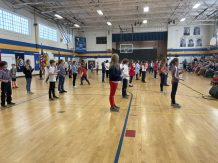 New London Elementary School fifth grade students perform a dance at a Veterans Day Ceremony on Friday. (Courtesy Photo Kearsarge Regional School District)