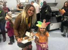 Darlene Mascone, left, joined kindergarten student Autumn Moscone at the annual Harvest Feast on Thursday. (Courtesy Photo Raymond School District)