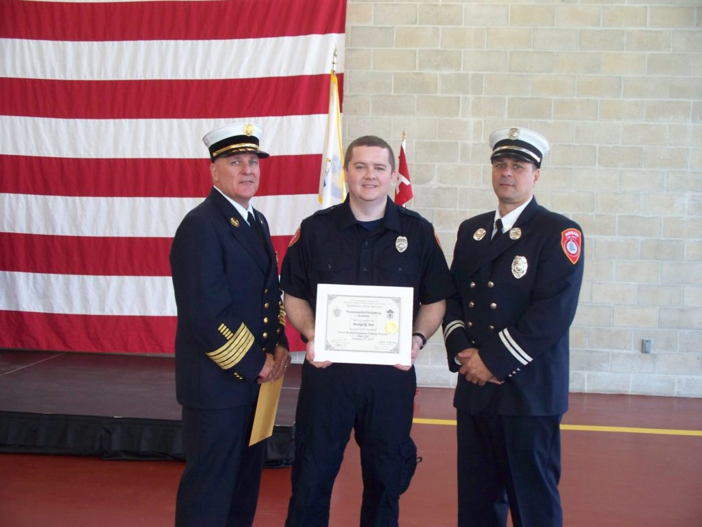 Fire Chief Anthony Stowers, Firefighter Michael Parr, and Captain Sean Kiley. (Maynard Fire Department/Courtesy Photo)