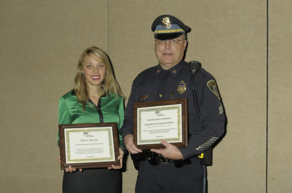 Pictured are AAA Traffic Safety Specialist Diana Dias and Boxborough Police Sergeant Warren J. O'Brien at the AAA Awards Luncheon in Worcester. (Courtesy of the Boxborough Police Department)