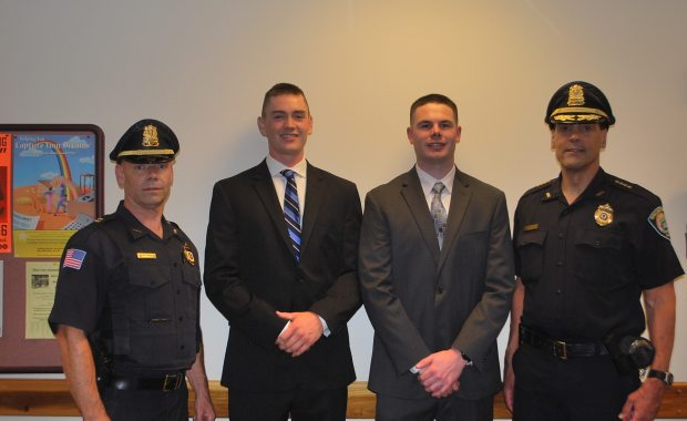 Left-to-right: Burlington Police Department Captain Gregory Skehan, Officer Keith Hodges Jr., Officer Matthew Trahan and Chief Michael Kent. (Burlington Police Department Courtesy Photo)
