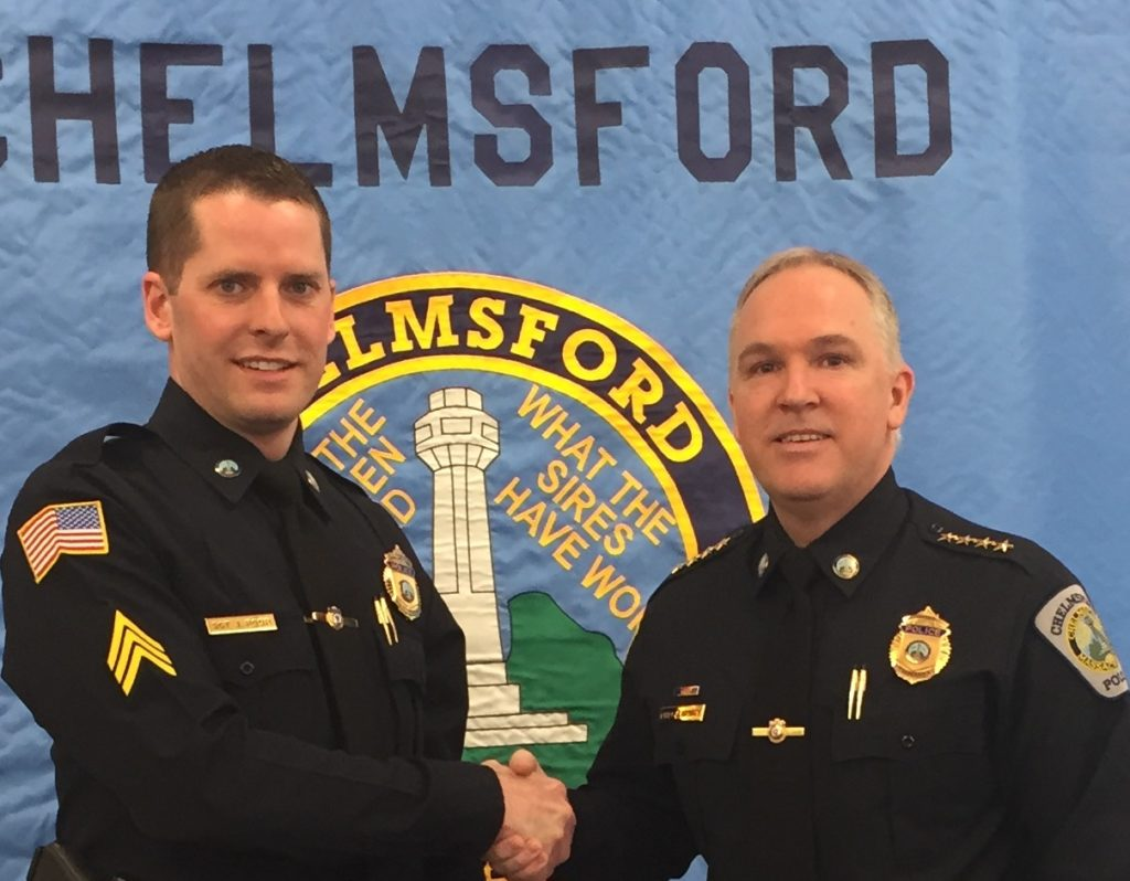 Chelmsford Police Chief James M. Spinney (Right) right newly-promoted Sergeant Jason Poor. (Courtesy Photo)