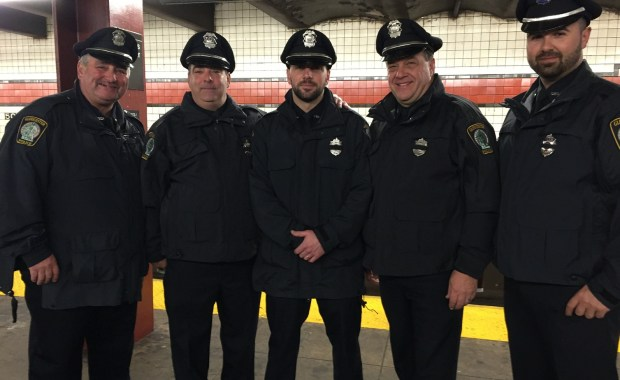 Pictured left to right: Officer Mark Foote, Detective Thomas Quinn, Officer Anthony Giacalone, Officer Kevin Mackay, Officer Brendan Chipperini.