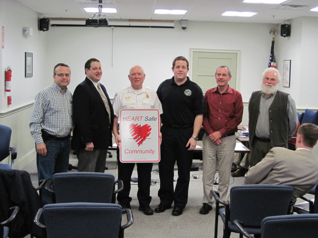 Pictured left to right:  Selectman David Surface, OEMS Region III Director Mike Kass, Chief Al Beardsley, FF Nick Valentini, Select Chair Stuart Egenberg, and Selectman Gary Fowler. (Courtesy of Georgetown Fire Department)
