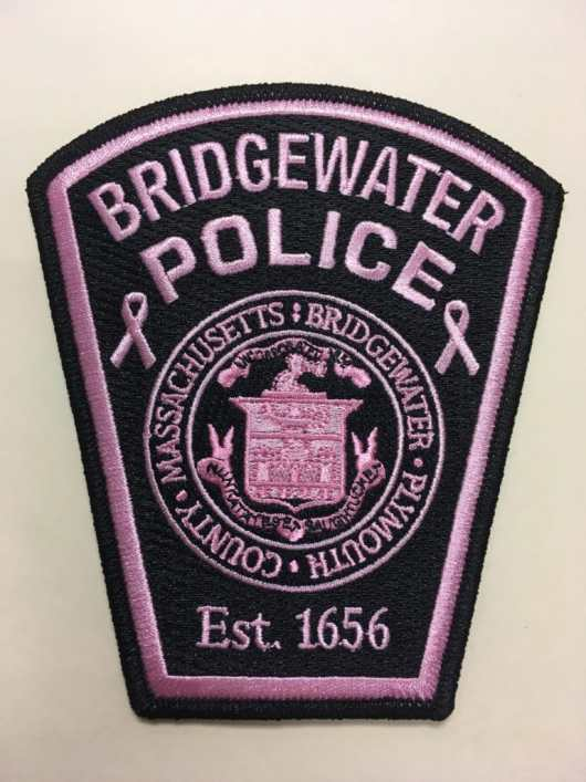 Pink Bridgewater Police patches will be on sale, with proceeds benefitting breast cancer research. (Courtesy Photo)