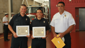 Left-to-right: Patrick Stewart, John Perry, and Chief Grunes